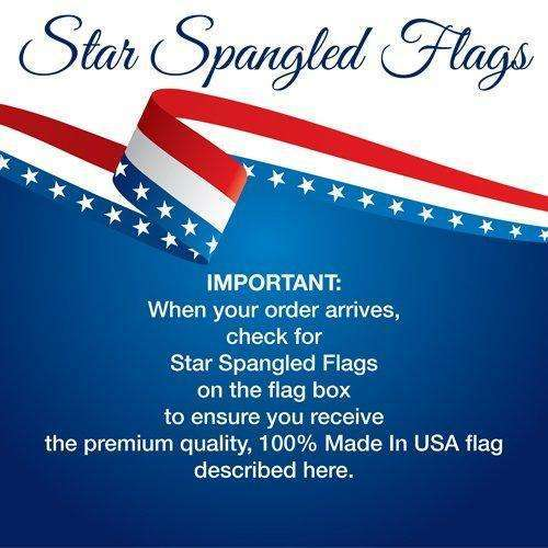 American Flag 5x8-100% Made In USA using Tough, Long Lasting Nylon Built for Outdoor Use, UV Protected and Featuring Embroidered Stars and Sewn Stripes plus Superior Quadruple Stitching on Fly End