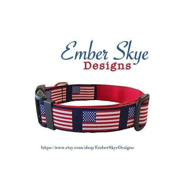 "American Flag Adjustable Dog Collar (3/4"" and 1"" Width)"