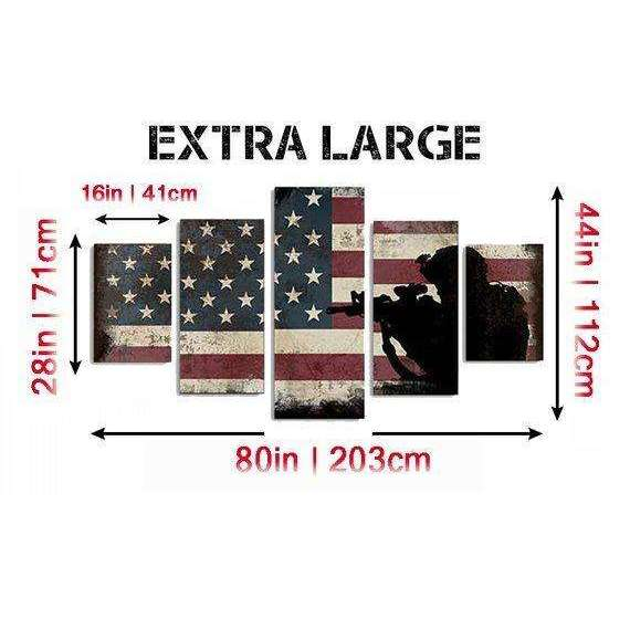 American Flag and 2nd Amendment #2 Wall Art Canvas - Army Rangers- Military Art- Patriotic Wall Art- Navy Seals- Army Wall Decor- US Marines