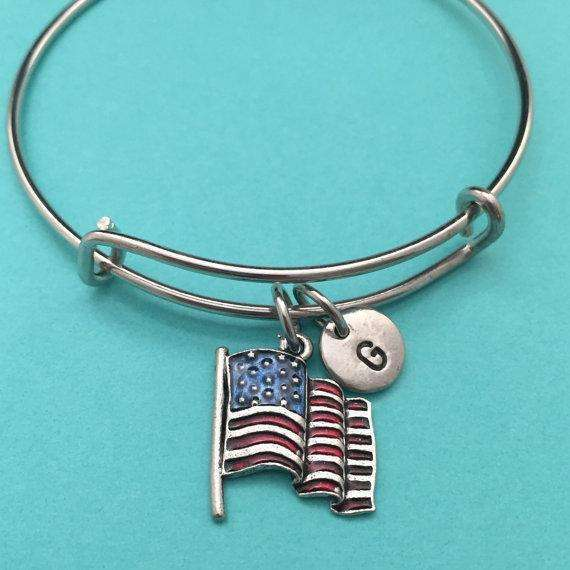American flag bangle, American flag charm bracelet, expandable bangle, charm bangle, personalized bracelet, initial bracelet, monogram