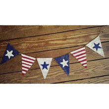 American Flag Banner, Labor Day Patriotic Banner, Patriotic Bunting, 4th of July Banner Garland, Patriotic Decor, Burlap, Bunting Garland