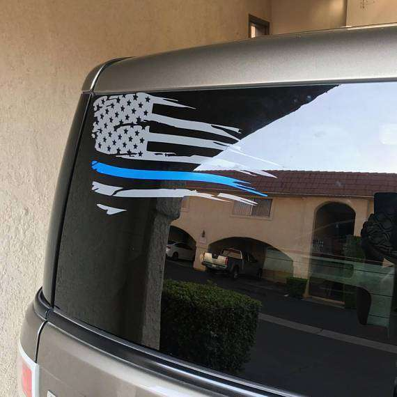 American Flag Blue Line Custom Die Cut Vinyl Decal Sticker - Choose your Color & Size - Thin Blue Line, Police Support, Law Enforcement