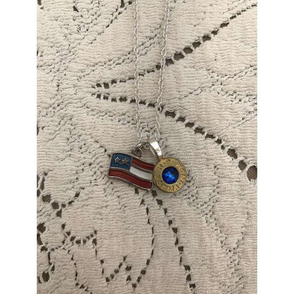 American Flag charm with bullet casing