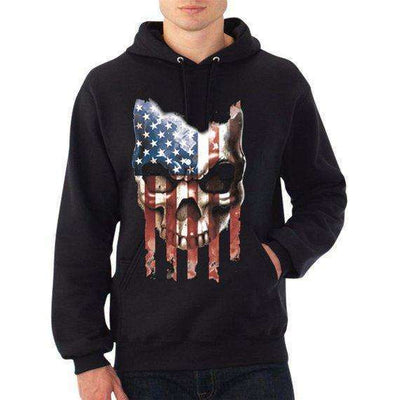 American Flag Dripping Skull Men's Pullover Hoodie FREE SHIPPING!