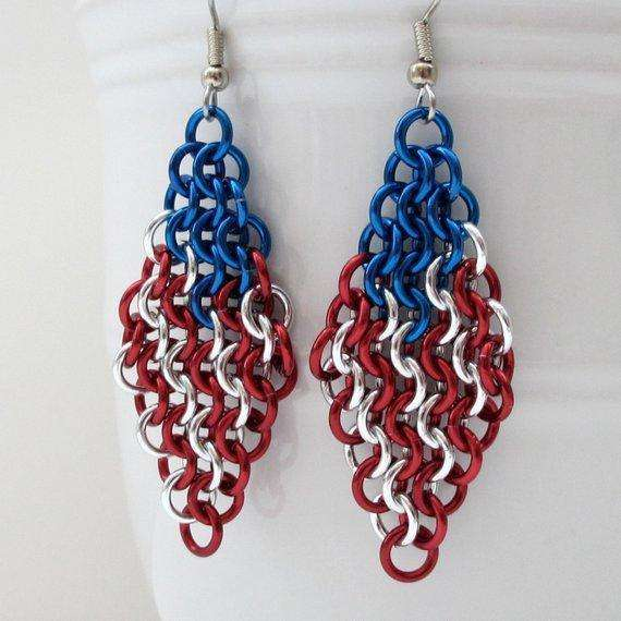American flag earrings, chainmail European 4 in 1 weave, red white and blue earrings