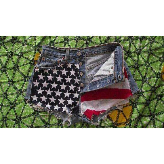 American Flag High Waisted Star Studded Vintage Levi Denim Shorts
