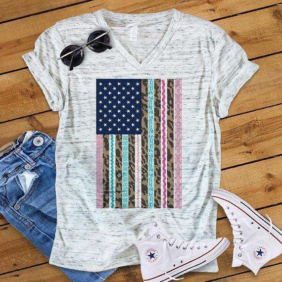 American Flag Lace and Leopard- Quote Shirts - Unisex Shirt - Bella Canvas - Saying Shirt