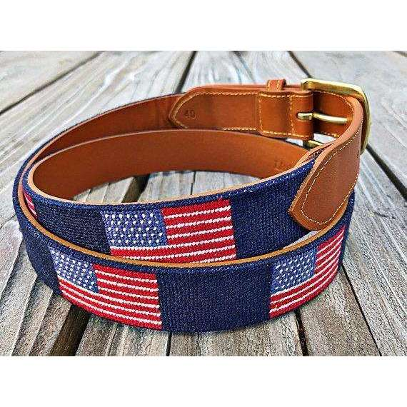 American Flag Leather Belt |  Tan Leather, Brass Buckle & Needlepoint Belt
