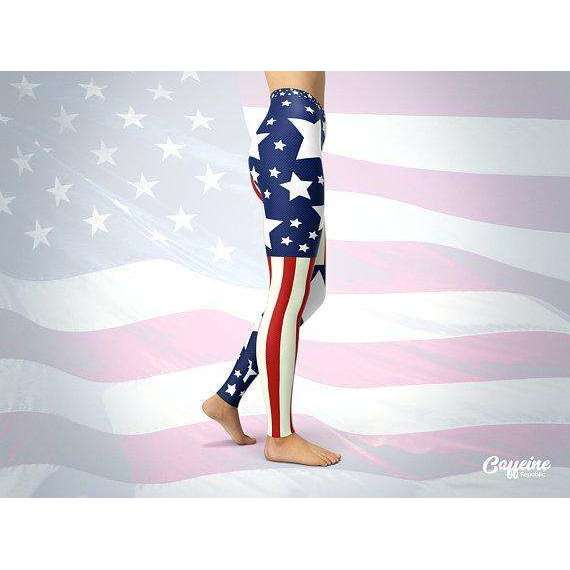 American Flag Leggings | American Flag Yoga Pants | Red White and Blue Leggings | Stars and Stripes Leggings | July 4th Women Outfits