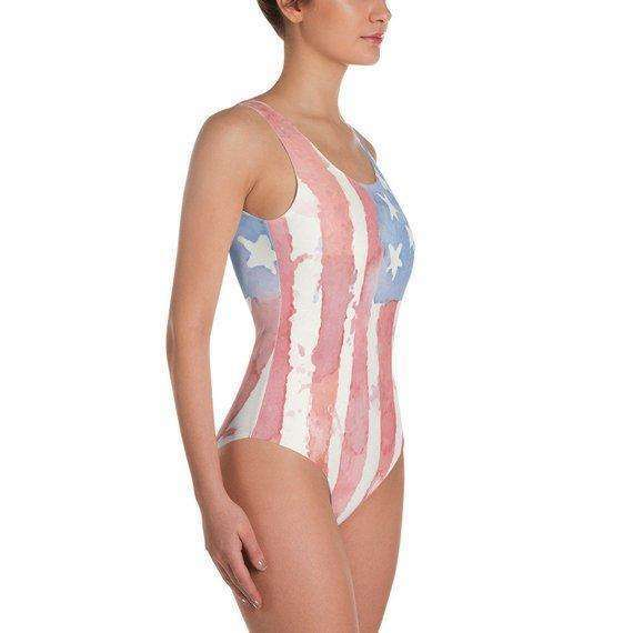 American Flag One Piece Watercolor Swimsuit, 4th of July Swimsuit, Patriotic Swimsuit, Red White and Blue swim, Bikini, Patriotic Bikini