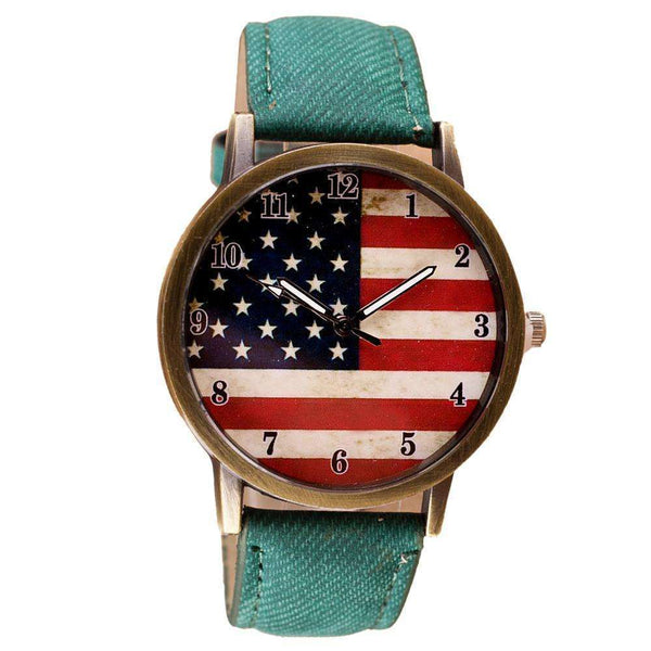 American Flag pattern Leather Band Analog Quartz Vogue Wrist Watches