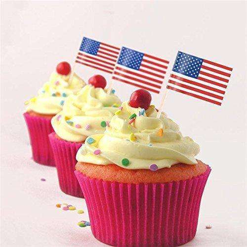 American Flag picks, 100 counts Toothpick Flags for Party Decorations, School Events, Independence Day,Cupcake Toppers Picks Decoration (US Flag Picks)