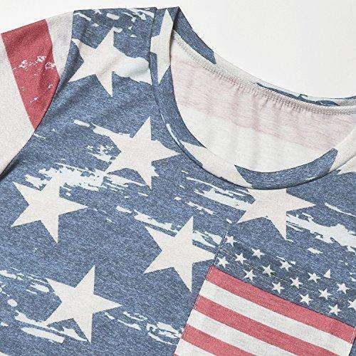 American Flag Print Shirt for Women Short Sleeve T-Shirts Blouse Tops