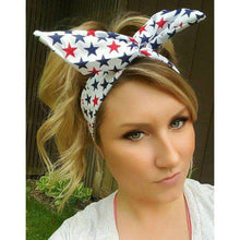 American Flag red white n Blue Stars  dolly bow headband
