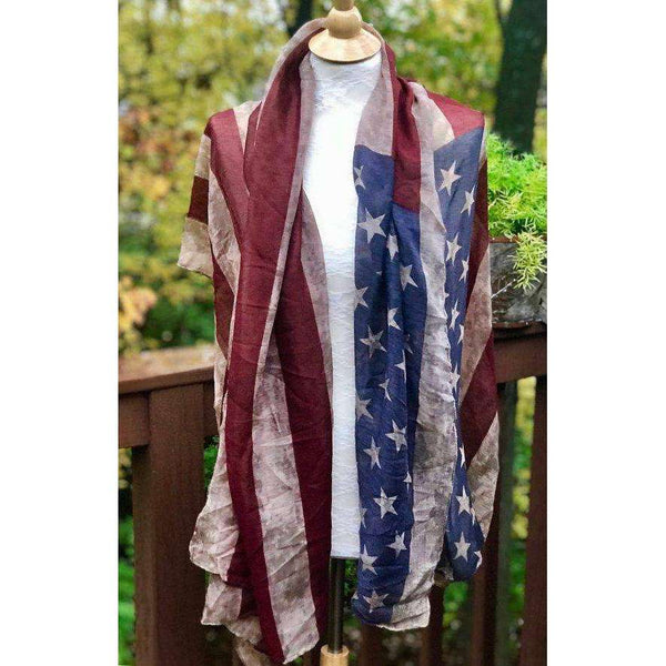American Flag Scarf, vintage flag, aged flag, light fabric rectangular extra large shawl MADE TO ORDER