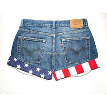 American Flag Shorts, Levi High Waisted Denim Shorts, 4th of July, Patriotic Shorts, Presidential Shorts, American Flag Studded Denim Shorts