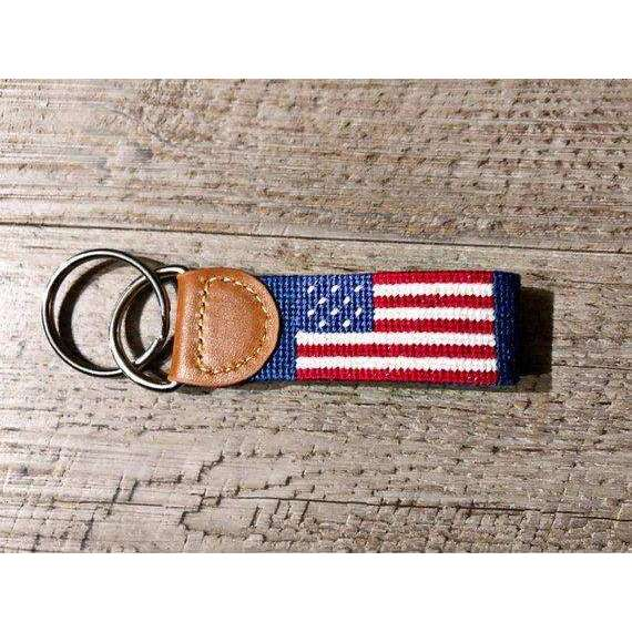 American Flag Silver Ring Key Charm, Brown Leather, Handmade Needlepoint Key Fob / Keychain