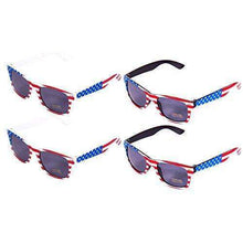 American Flag Sunglasses Pack of 4 - USA Sunglasses for 4th of July Celebration