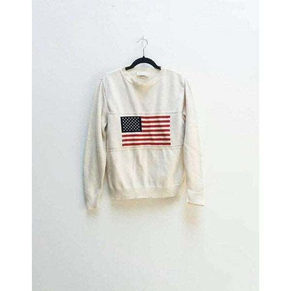 American Flag Sweater Vintage 4th July Knit Pullover Vintage Stars and Stripes American Flag Top White Knit American Flag Jumper Vintage