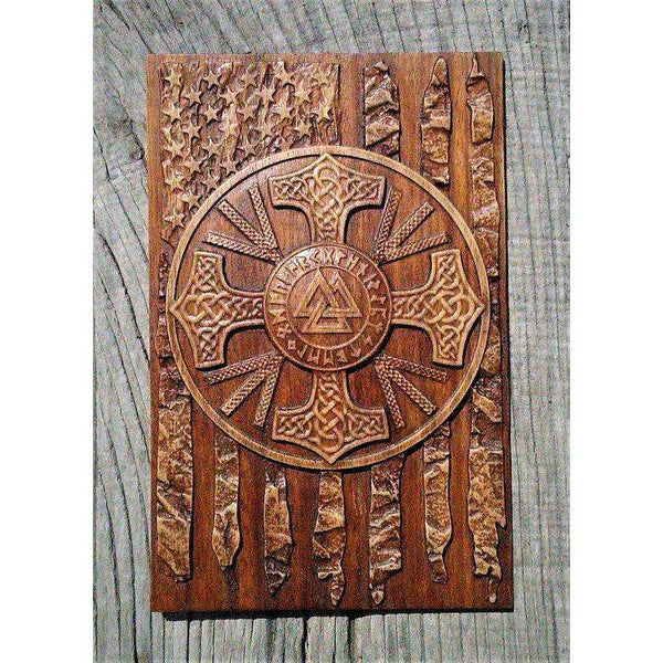 American Flag Walknut Viking Plaques Decor Art Norse Thor Odin Wood Picture Pagan Gods Carving Heathen Asatru Celtic Norse Rune Wall Hanging