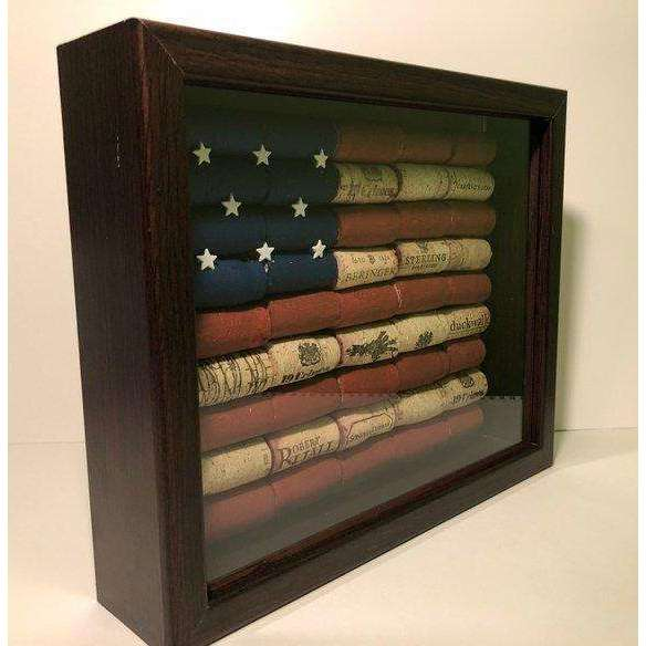 American flag wine cork shadowbox, rustic decor, Memorial Day, 4th of July, farmhouse decor