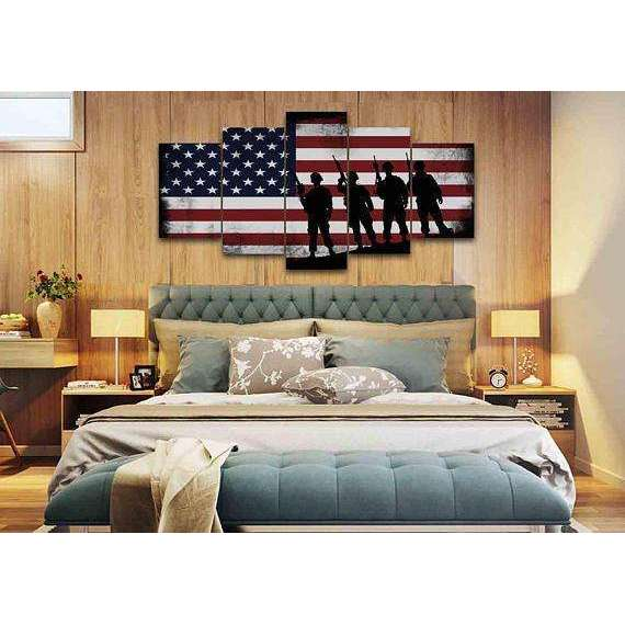 81fe75d04dd6 ... American Flag with Soldiers - Army Rangers- Military Art- Rustic American  Flag- Patriotic ...