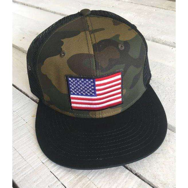 American Flag, camo snap back hat