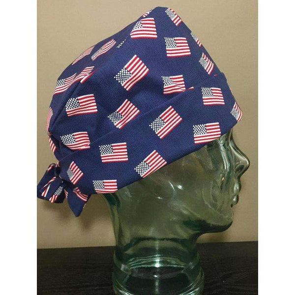 American Flags on Navy Surgical Scrub Hat, Adorable Patriotic Women's Pixie Scrub Cap, Operating Room Caps, Custom Caps Company