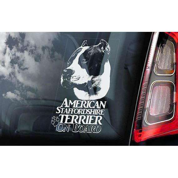 American Staffordshire Terrier on Board - Car Window Sticker - Staffie Staffy Bull Dog Sign Decal Gift - V13
