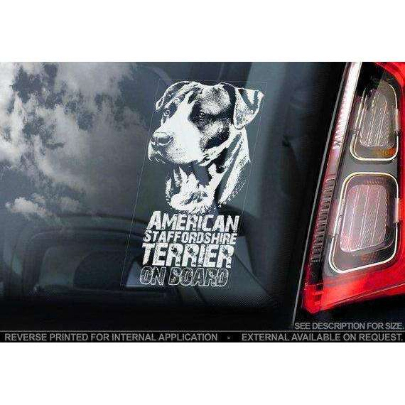American Staffordshire Terrier on Board - Car Window Sticker - Staffie Staffy Dog Sign Decal Gift - V01