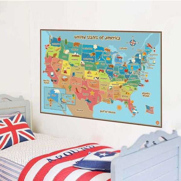 American World Map Removable Vinyl Decal Wall Sticker Home Decor