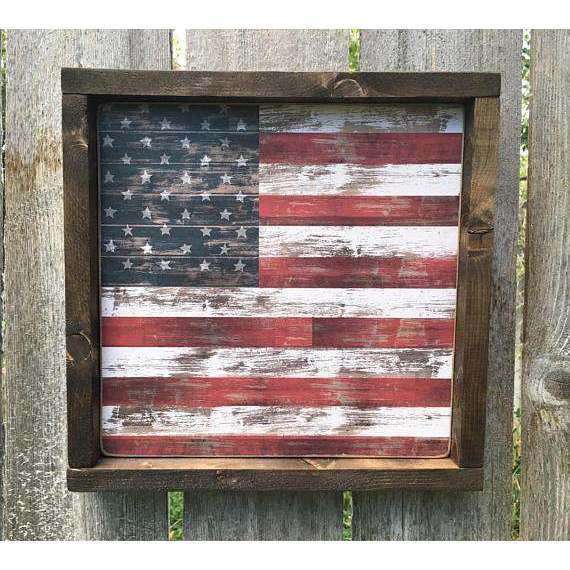 Americana Decor Wood Sign Framed Wooden American Flag Sign | Farmhouse Rustic American Flag Decor Farmhouse Decor Patriotic Fourth of July
