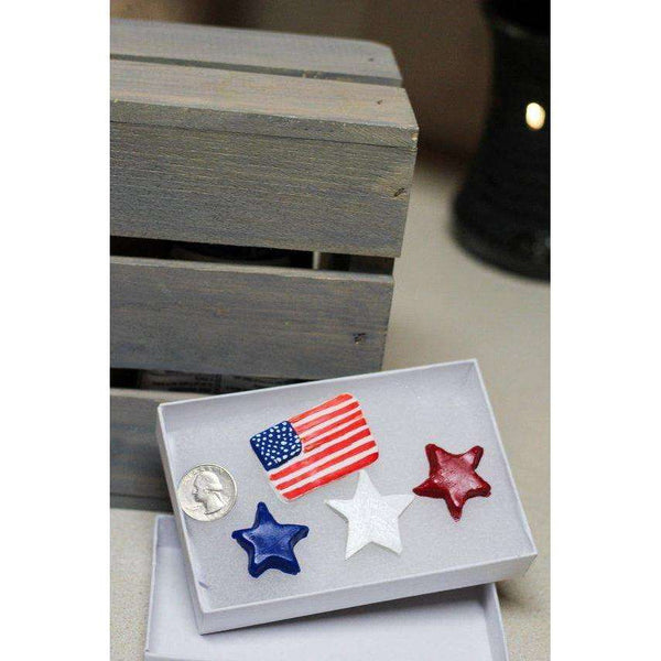 AMERICANA Letter Board Ornaments (Pack of 4- 3 Stars and 1 American Flag) / Felt Letter Board Accessories / Home Decor