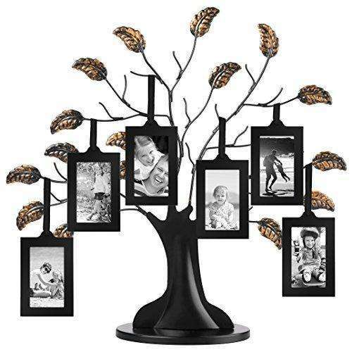 "Americanflat Bronze Family Tree Frame with 6 Hanging Picture Frames Each Sized 2"" x 3"" with Adjustable Ribbon Tassels"