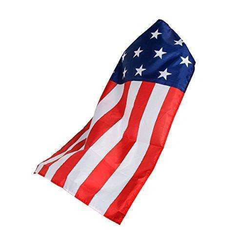 AMNPOLEN American Flag Costume Cape USA Patriotic Flag Cloak for Adult Men Women Child