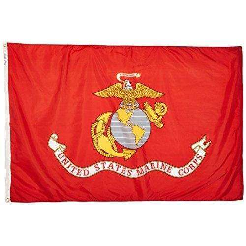 Annin Flagmakers Model 439007 U.S. Marine Corps Military Flag 4x6 ft. Nylon SolarGuard Nyl-Glo 100% Made in USA to Official Specifications. Officially Licensed Manufacturer.