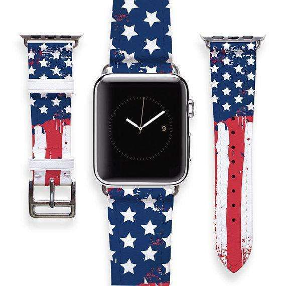 Apple Watch Band 38 USA Leather Wristband iWatch Band American Flag Print Handmade Watch Strap Long Band Short Band Strap 38mm 42mm YD0021