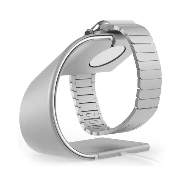 Apple Watch Stand Cradle U Shaped iWatch Charging Dock Station Sturdy Watch Platform Holder (Silver)