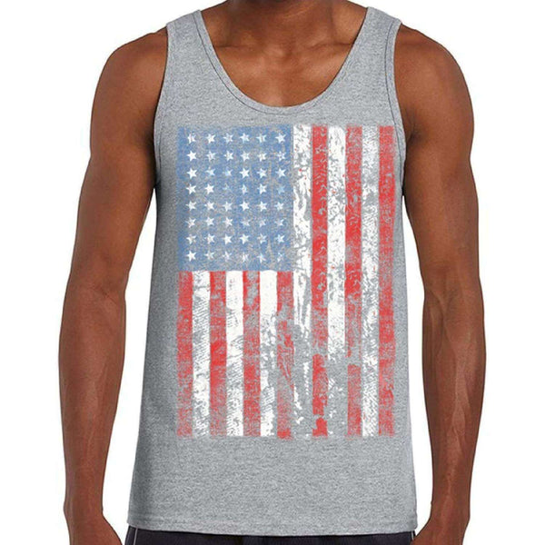 Awkwardstyles Men's American Flag Distressed Tank Top 4th July Tank + Bookmark