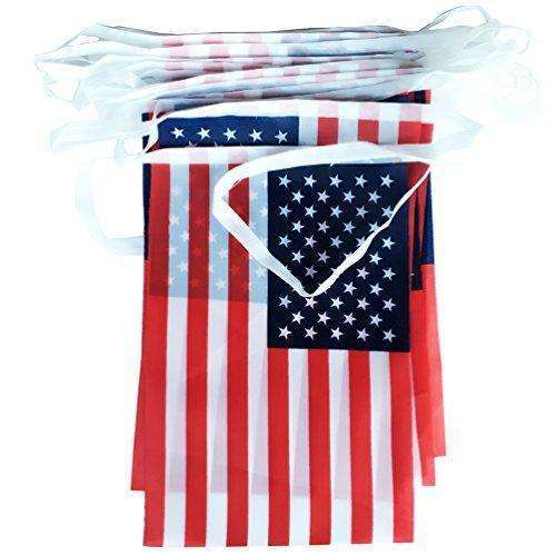 AZOWA 2 Pcs American Flag Pennant Banner On A String US Flag Streamers Bunting Decroration For 4th of July