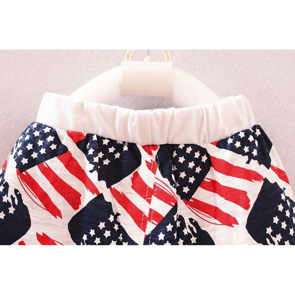Baby boy clothes American flag Star Print 2017 Fashion kids clothes sleeveless T-shirt+Pants 2pcs Outfit Set summer baby clothes