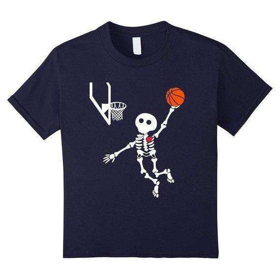 basketball skeleton halloween shirt