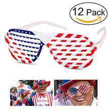BESTOYARD Shutter Shading Glasses American Flag USA Patriotic Glasses Shades Sunglasses for Party Props Decoration 12pcs