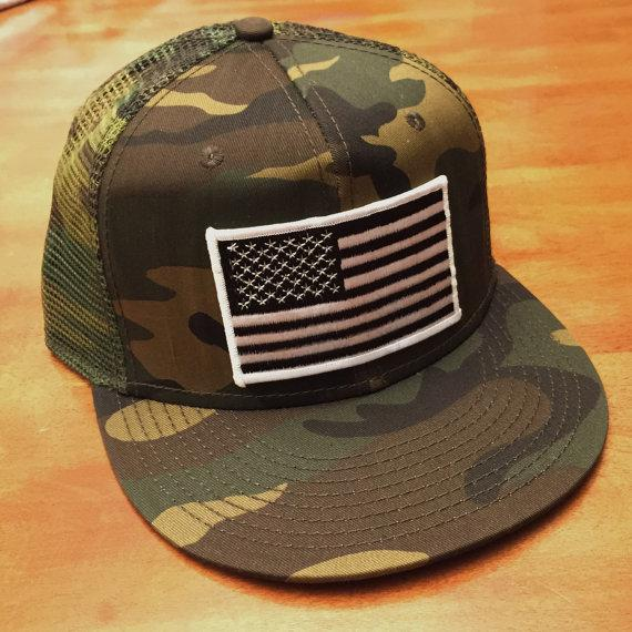 Black and White AMERICAN FLAG/CAMO Trucker Hat, Snapback Flat Bill Trucker Hat, Patriotic Hat