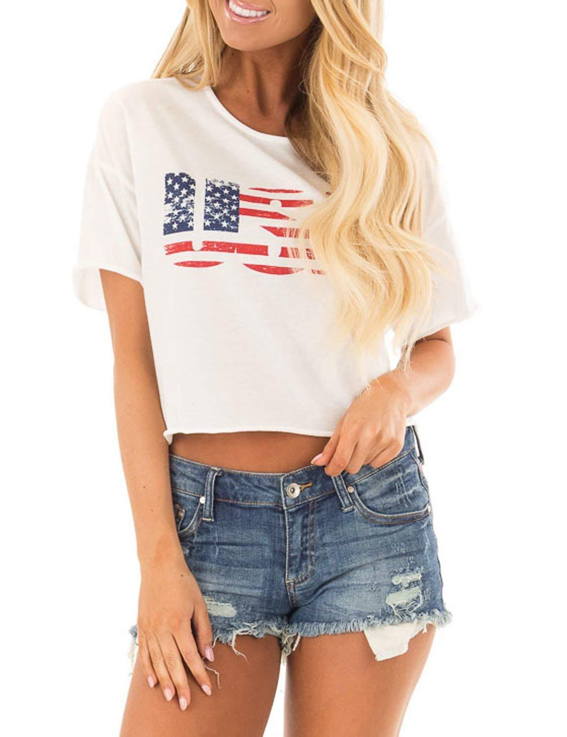 Blooming Jelly Women's Short Sleeve White USA Crop Top Letter Print Round Neck Tee Shirt