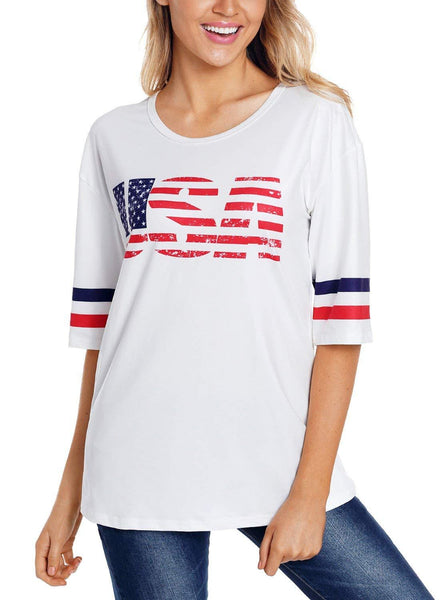 Blossil Women's Casual Scoop Neck Half Sleeve Graphic Flag T Shirt Top Tee