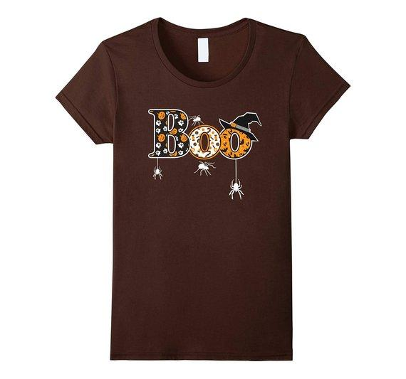 Boo Halloween T-Shirt With Spiders And Witch Hat