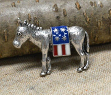 Brooch 48x33mm Donkey Democratic Party Political Mascot American Flag