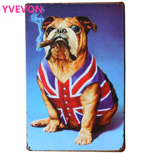 BULLDOG AND SMOKING CIGAR Metal Puppy Plaque Rustic Pet Sign for DOG art decor on wall in hotel bar pub school LJ6-2 20x30cm B1