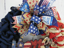 Burlap Patriotic Home Wreath, Burlap American Flag Wreath, Independence Day Wreath, American Flag Wreath, Rustic Fourth of July Wreath